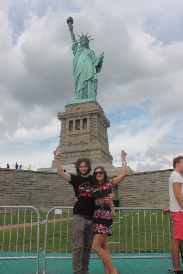 Posing with Lady Liberty
